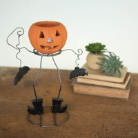 Funky Clay Jack-O-lantern with Metal Body