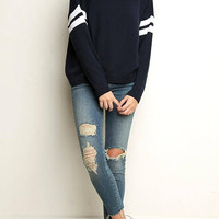 Navy Stripe Sleeve Sweater