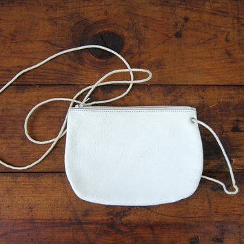 Small White Leather purse shoulder Cross Body purse Wallet Travel Bag Long Strap Women's Across Body Bag