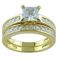 14k Yellow Gold Plated Sterling Silver Cz Wedding Ring Set