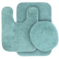 Garland Rug Glamor Sea Foam 21 in. x 34 in. Washable Bathroom 3 Piece Rug Set-ALU-3pc-06 at The Home Depot