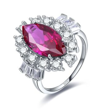 Merthus 3.98ct Ruby Marquise Halo Engagement Ring 925 Sterling Silver