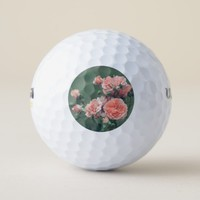 Beautiful pink roses on a natural green background golf balls