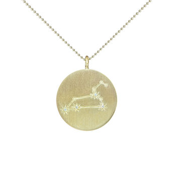 Gold Zodiac Pendant with Diamonds - Leo