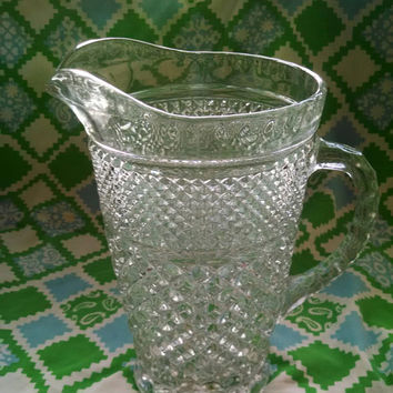 Vintage Diamond Cut Anchor Hocking Wexford Cut Clear Glass Pitcher With Ice Lip