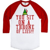 You Sit On A Throne Of Lives Elf Shirt-Unisex White/Red T-Shirt
