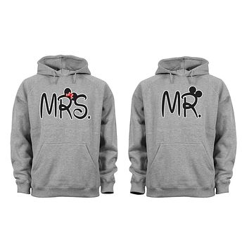 XtraFly Apparel Mr Mrs Ears Valentine's Matching Couples Hooded-Sweatshirt Pullover Hoodie