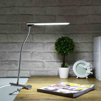 desk lamp clip Led Clamp Desklight luminaria de mesa USB port for student table bedroom bedside office flexible light Stainless