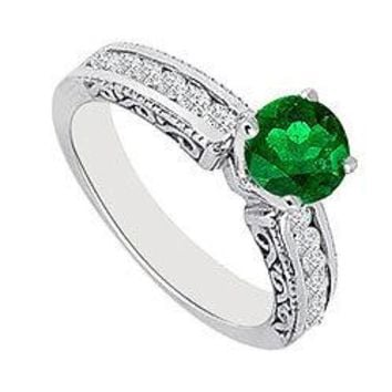 Emerald and Diamond Engagement Ring 14K White Gold  0.75 CT TGW