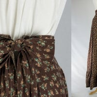 Vintage boho Maxi Prairie Skirt 70's calico dream Yoke Waist