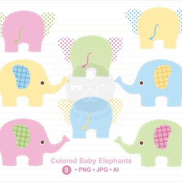 Colored Baby Elephants Clipart, cute elephant clip art,digital download-BUY 1 GET 1 FREE! Use Code: 1GET12016