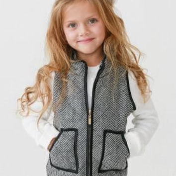 GIRL'S HERRINGBONE VEST