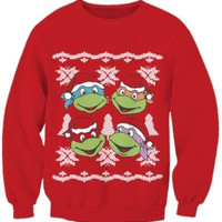 G98 The latest fashion femal Ugly Christmas Sweater Christmas sweatshirt  fads Lovers clothes Teenage mutant ninja turtles printed casual hoodies sweatshirt size S M L = 1932284804