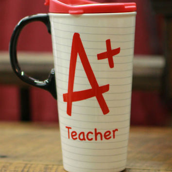 A+ Teacher Ceramic Mug ~ Red