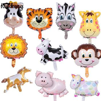 50pcs MINI Cow Pig Sheep Lion Unicorn Foil Balloon Animal Mylar Air Balloons 40*30cm birthday party baby shower supplies balaos