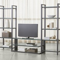 "Pilsen 52"" Graphite Media Console with 2 Bookcases"