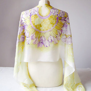 Silk scarf Crocus - pastel scarf - hand painted scarves - white flowers scarf chartreuse mindaro white pale lime yellow scarf - crocus scarf