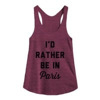I'd Rather Be in Paris-Female Tri Cranberry Tank