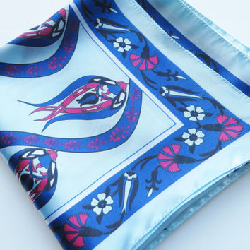 Vintage blue and pink scarf, Royal blue scarf, Blue floral scarf, Summer scarf