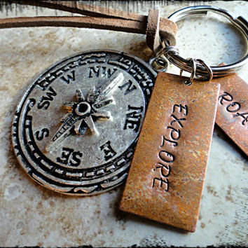 Roam Explore Copper and Silver Compass Charm Hand Stamped Keychain Key fob