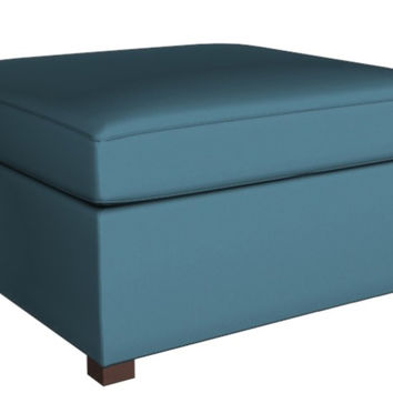 Color Customizable Leather Square Ottoman Geo Earth Designs by Lazar