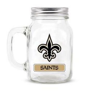 New Orleans Saints NFL Mason Jar Glass With Lid