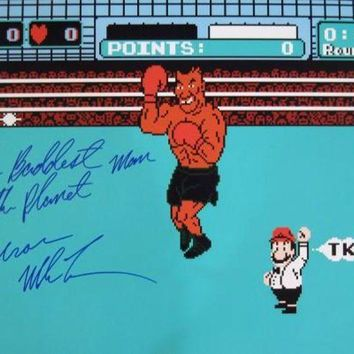 LMFONY Mike Tyson Signed Autographed 'The Baddest Man On The Planet' Glossy 16x20 Photo Punch Out (ASI COA)