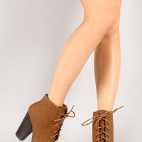 Bamboo Huxley-01 Round Toe Lace Up Bootie