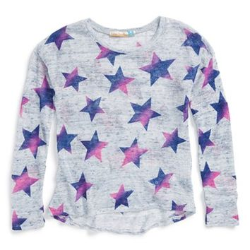 Girl's Vintage Havana Star Print Open Knit Sweater,