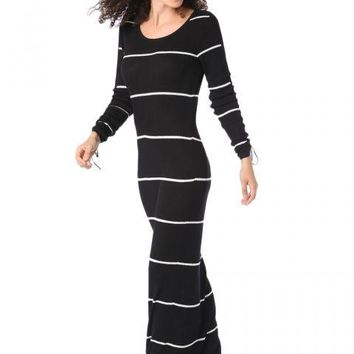 Black stripe maxi dress in ribbed jersey