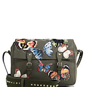 Valentino - Rockstud Butterfly-Embroidered Canvas Messenger Bag - Saks Fifth Avenue Mobile