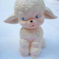 Vintage Rubber Squeak Toy Lamb Sheep White Clean Still Squeaks Very Gently Used