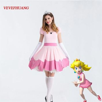Super Mario party nes switch VEVEFHUANG Deluxe Adult Princess Peach Costume Women Princess Peach  Bros Party Cosplay Costumes Halloween Costumes AT_80_8