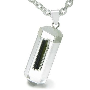 Brazilian Amulet Crystal Point Rock Quartz Rough Black Tourmaline Pendant Necklace