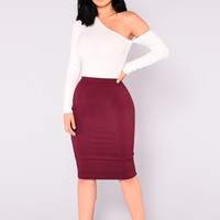 Constance Pencil Skirt - Burgundy