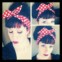 Skinny Dolly Bow Red White Polka Dot Hair Bow 1940s 1950s Vintage Style Fabric - Rockabilly - Pin Up - For Women, Tee