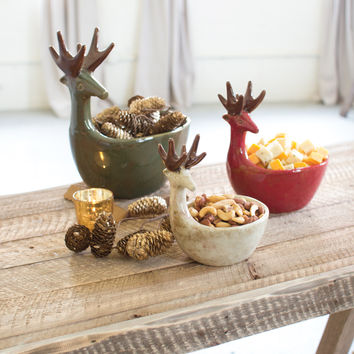 Set of 3 Ceramic Deer Bowls- One Each Color