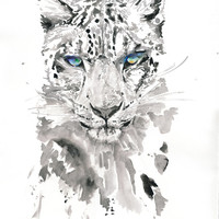 "Giclee Leopard Print 17"" x 22"", Art Print of Watercolour Big Cat painting. Titled  - Leopard 4"