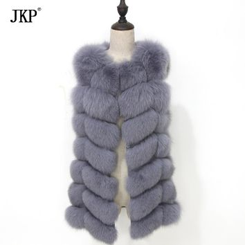 100% Real Fox Fur Vest Natural Whole Fox Fur Vest Women fox fur long vest winter high quality Coat jacket