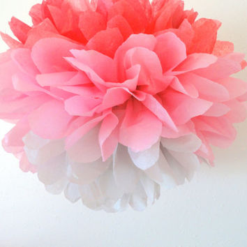 Tissue pom ... JUMBO pink ombre pom // weddings // nursery // baby shower // birthday party // gender reveal //