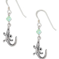 STERLING SILVER ANTIQUED ALLIGATOR EARRINGS WITH LIGHT GREEN SWAROVSKI CRYSTALS