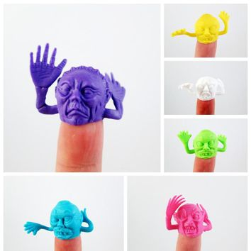 2017 Promotion New Finger Puppets 1pcs Pvc Candy Color Terror Grimace Finger Puppet Story Mini Toys Dolls Can Install Gashapon
