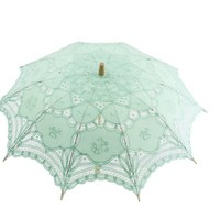 Romantic Battenburg Parasol with Embroidery and Lace Gloves (Aqua)
