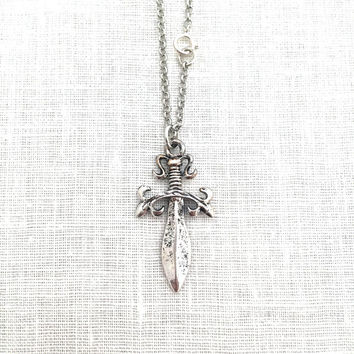 Sword Necklace, Cosplay Jewelry, Dagger Medieval Dagger Knife, Anime Sword Pirate Silver