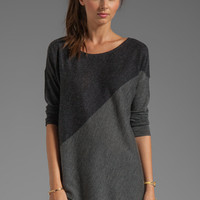 Alice + Olivia Color Blocked Bias Boxy Pullover in Light Heather Gray/Charcoal from REVOLVEclothing.com