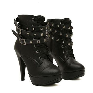 New Women Black Ankle Boots Motorcycle Thin High Heel Double Buckle Gothic Punk Platforms
