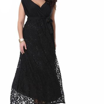 dahlia Plus Size Maxi Dress Women Vintage V-neck Sleeveless Long retro Elegant Party Lace black