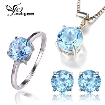 Jewelrypalace 6ct Natrual Blue Topaz Ring Earrings Pendant Necklace Jewelry Sets 925 Solid Sterling Silver Round Gemstone Brand