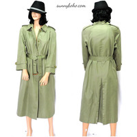 Vintage khaki trench coat S/ M Sanyo for JusterWoman olive green trench duster rain coat full length trench coat size 6/7 SunnyBohoVintage