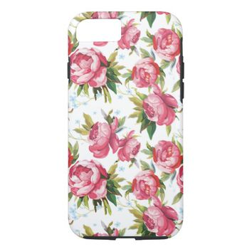Stylish Vintage Pink Floral Pattern iPhone 7 Case